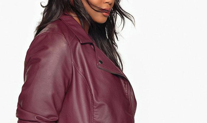 veste simili cuir rouge femme grande taille
