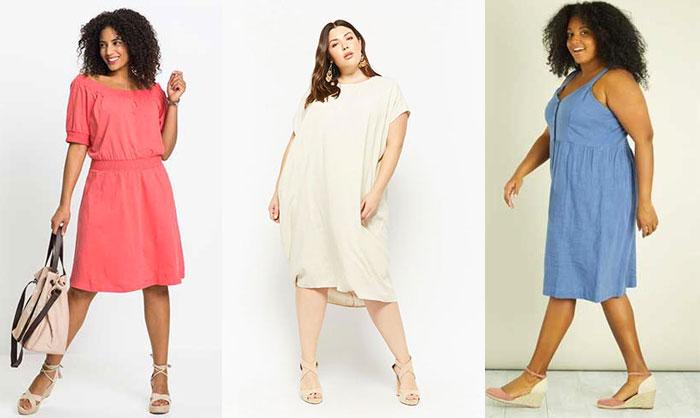 robes grande taille en coton,lin