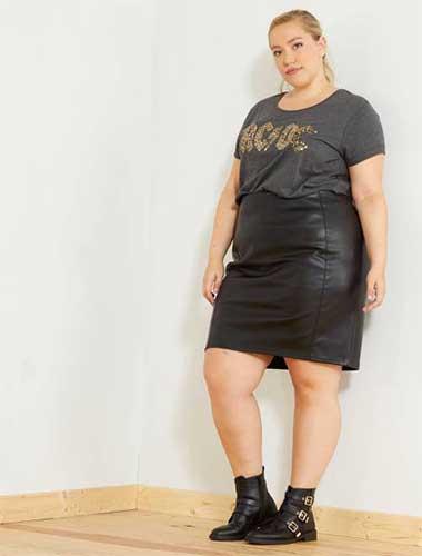 Jupes grande taille en cuir et simili cuir : La tendance qui